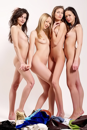 Fours Girls Undressing