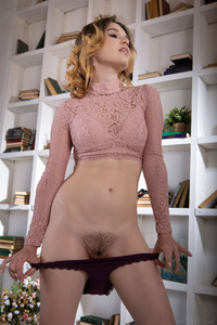 Serena Wood Down Her Panties To Reveal The Neatly Trimmed Bush