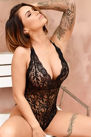 Gemma Massey In A Black Lacy Teddy