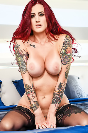 Tana Lea Busty Redhad And Tattoed Slut Strips