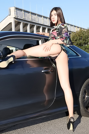 Young Model Lady Dee Stripping By A Car