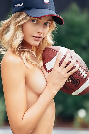 Sporty Megan Samperi gets naked and gets athletic