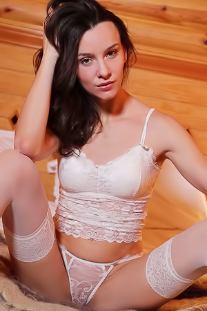 Adel Morel In Sexy White Lingerie And Stockings
