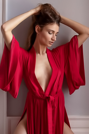 Ilvy Kokomo takes of the red bathrobe revealing her sensual figure