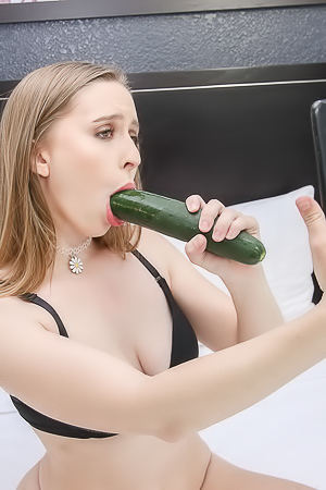 Laney Grey Deepthroating A Huge Cucumber