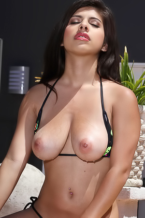 Layla Rose Will Hynotize You With Her Huge Breasts By The Pool
