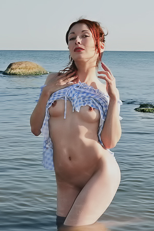 Gorgeous Redhead Night Posing Outdoors