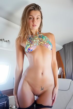 Delicious Teen Maria Stripping In Private Jet