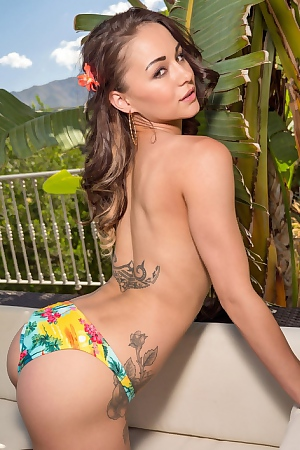 Mica Martinez Colorful Palm Bikini