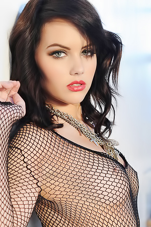 Melissa Clarke In Sexy Black Fishnet Dress
