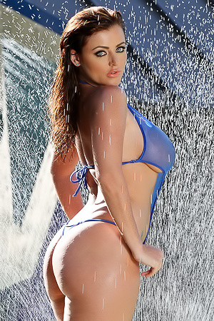 Sophie Dee Stunning And All Wet In Sheer Blue Bodysuit Bikini